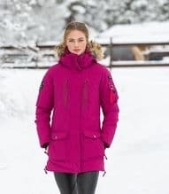 HORZE BROOKE WOMANS PARKA STYLE RIDING JACKET - DARK PINK