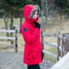 HORZE BROOKE WOMANS PARKA STYLE RIDING JACKET - POPPY RED