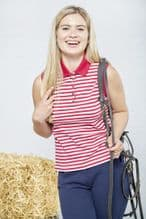 TOGGI EFFIE RED  STRIPE  SLEEVELESS POLO SHIRT- RRP £37.50